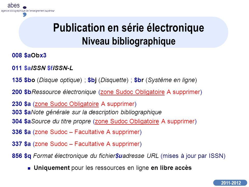 Publication en série électronique Niveau bibliographique