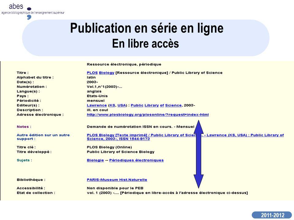 Publication en série en ligne En libre accès