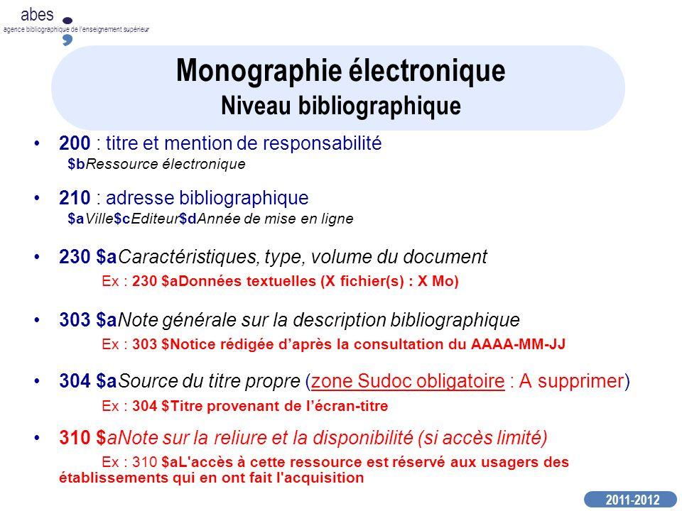Monographie électronique Niveau bibliographique