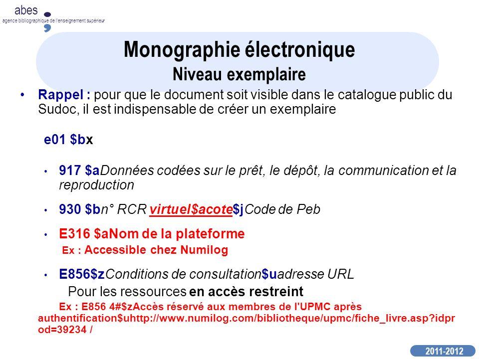 Monographie électronique Niveau exemplaire