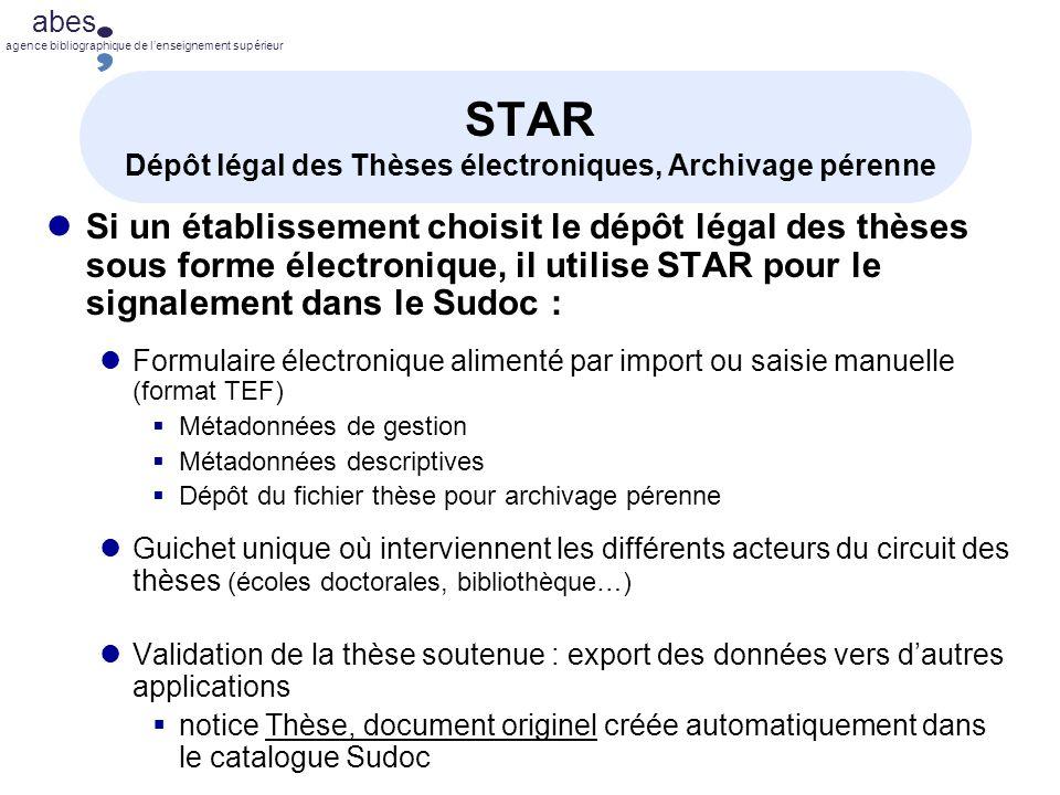 STAR Dépôt légal des Thèses électroniques, Archivage pérenne