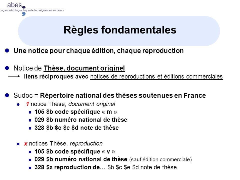 Règles fondamentales Une notice pour chaque édition, chaque reproduction. Notice de Thèse, document originel.