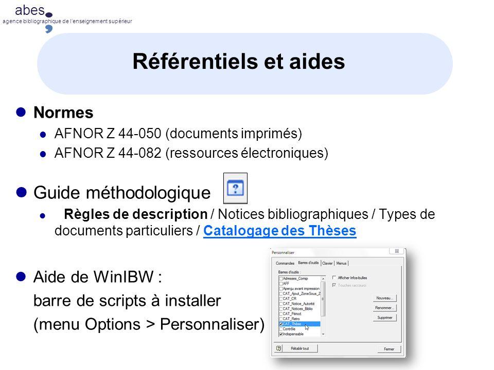 Référentiels et aides Guide méthodologique Normes Aide de WinIBW :