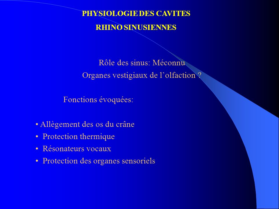 PHYSIOLOGIE DES CAVITES