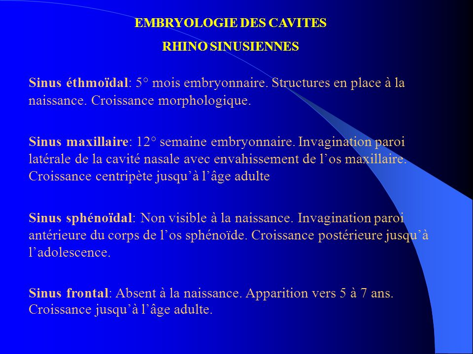 EMBRYOLOGIE DES CAVITES