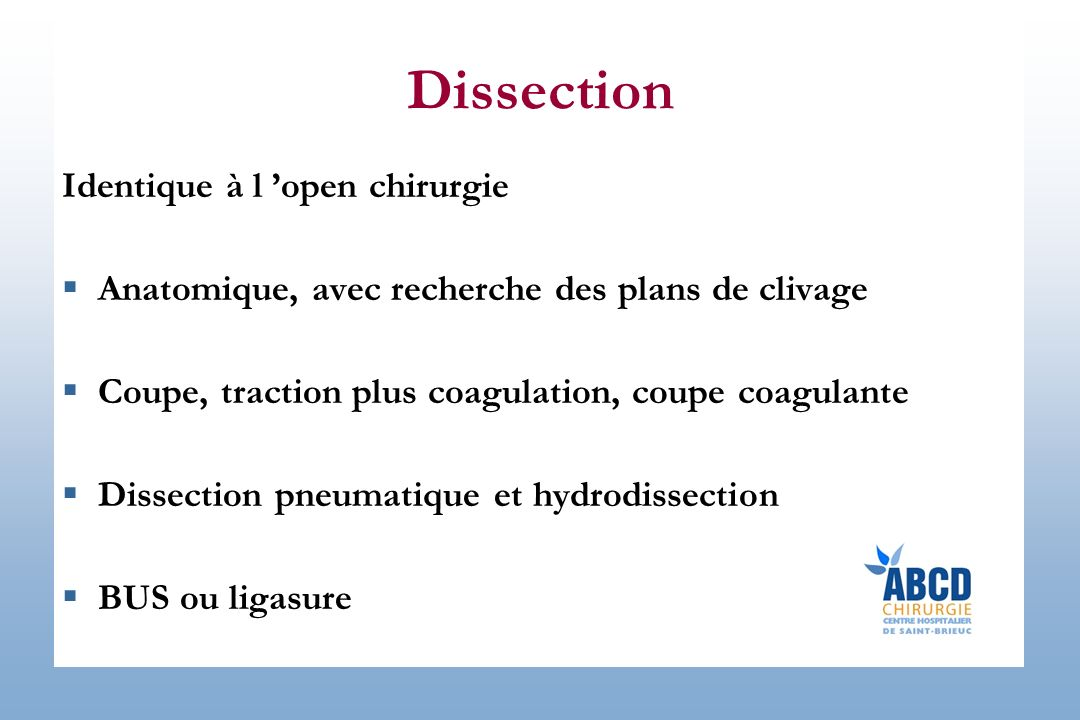 Dissection Identique à l 'open chirurgie