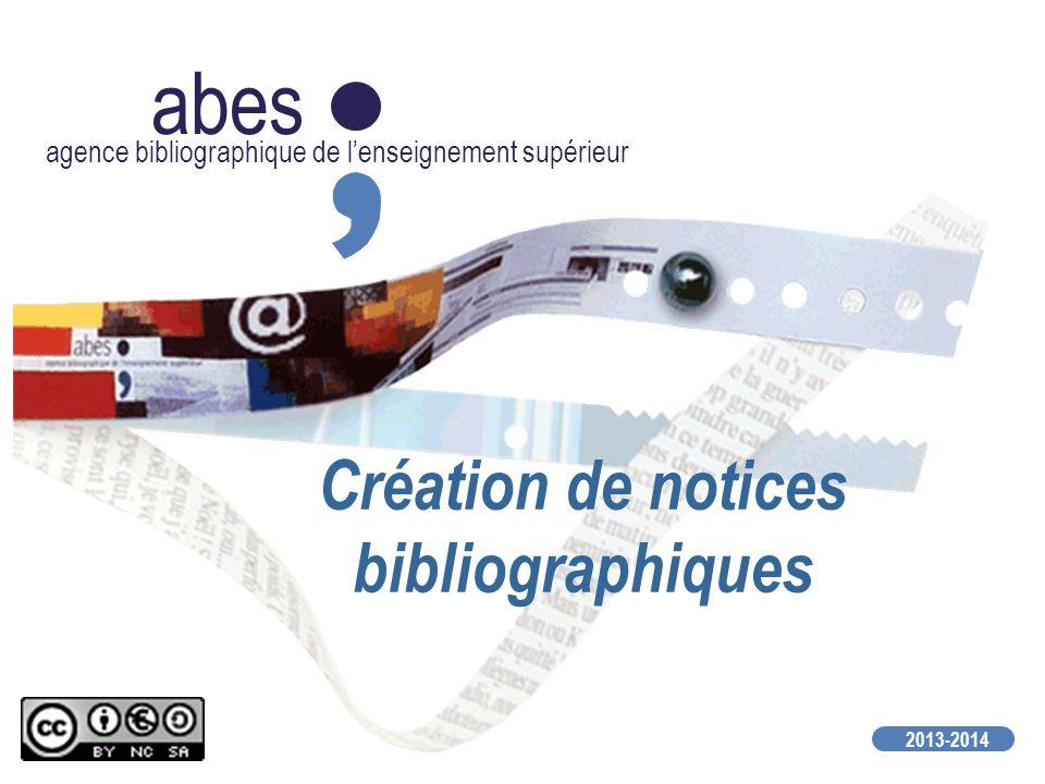 Création de notices bibliographiques