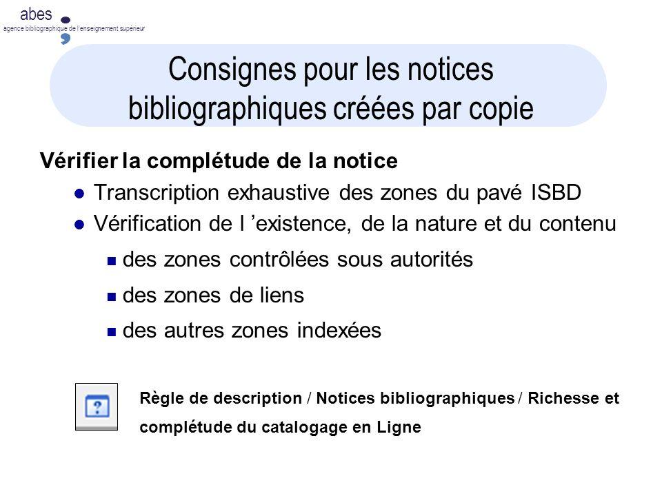 Consignes pour les notices bibliographiques créées par copie