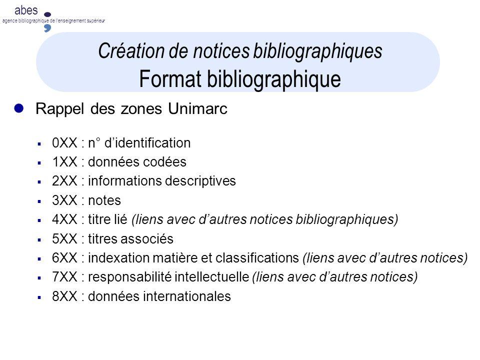 Création de notices bibliographiques Format bibliographique