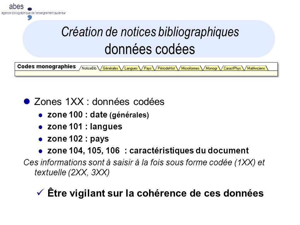 Création de notices bibliographiques données codées
