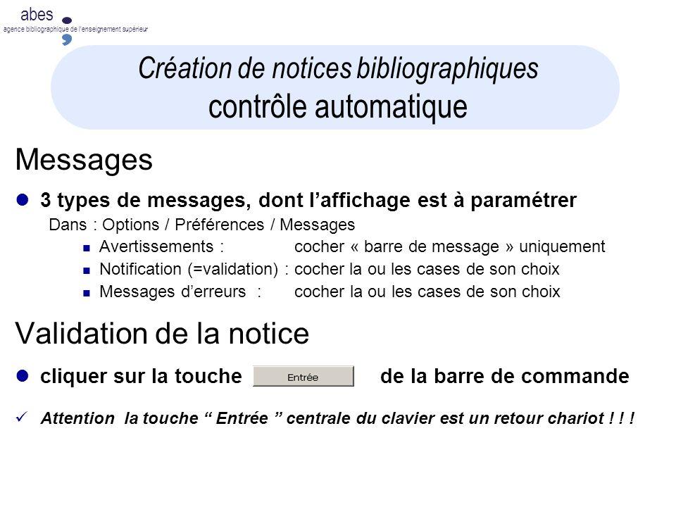 Création de notices bibliographiques contrôle automatique