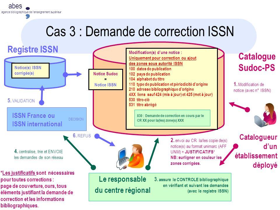 Cas 3 : Demande de correction ISSN