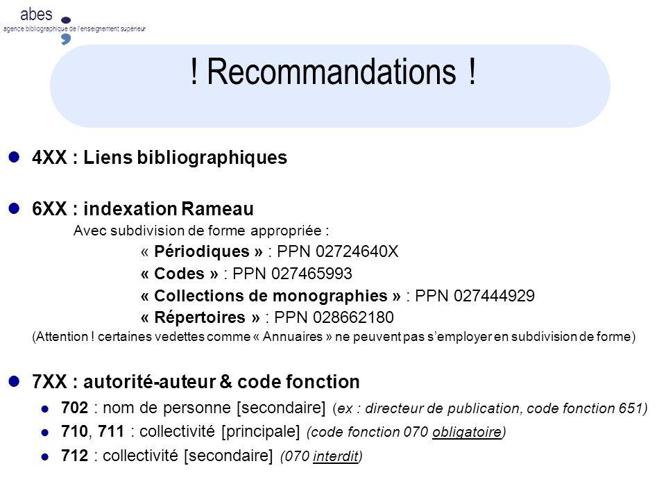! Recommandations ! 4XX : Liens bibliographiques