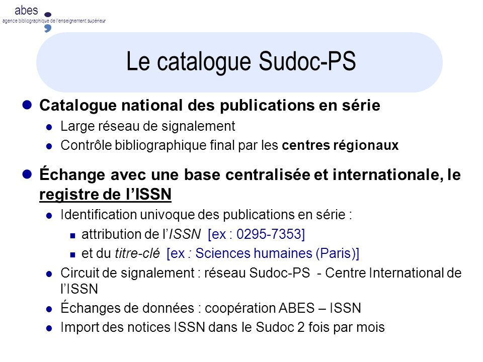 Le catalogue Sudoc-PS Catalogue national des publications en série