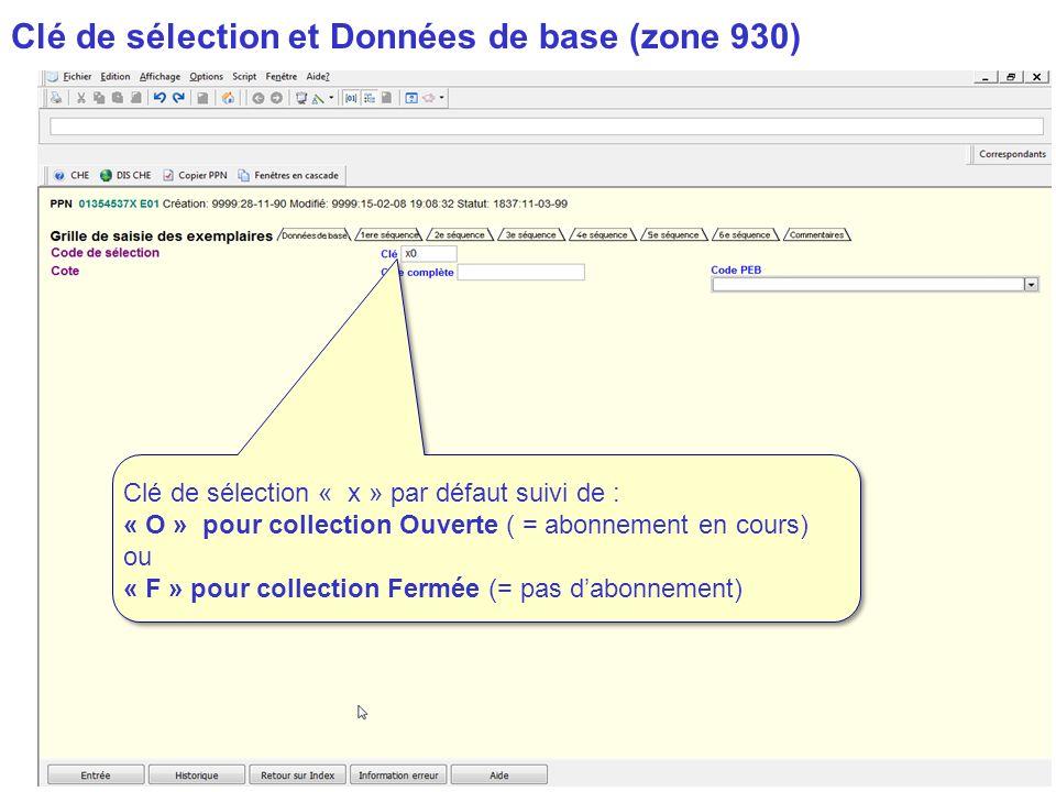 Clé de sélection et Données de base (zone 930)