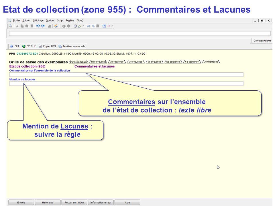 Etat de collection (zone 955) : Commentaires et Lacunes