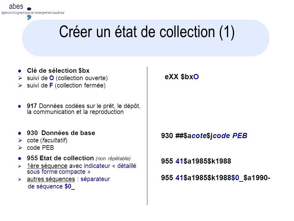 Créer un état de collection (1)