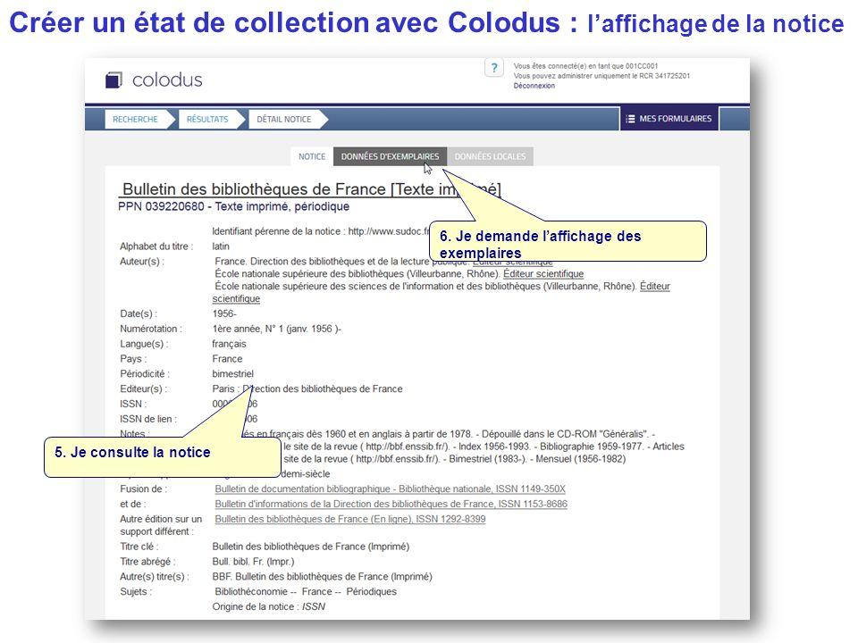 Créer un état de collection avec Colodus : l'affichage de la notice