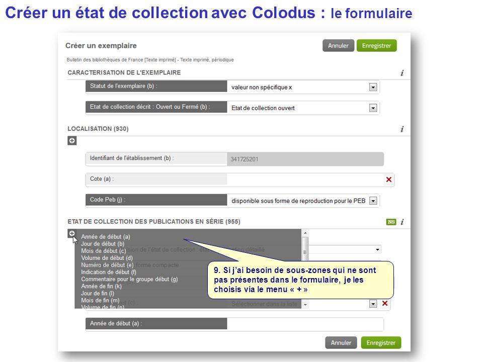 Créer un état de collection avec Colodus : le formulaire