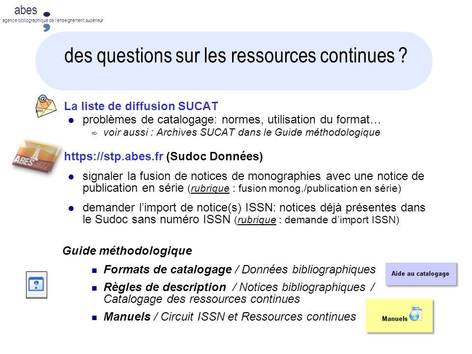 des questions sur les ressources continues