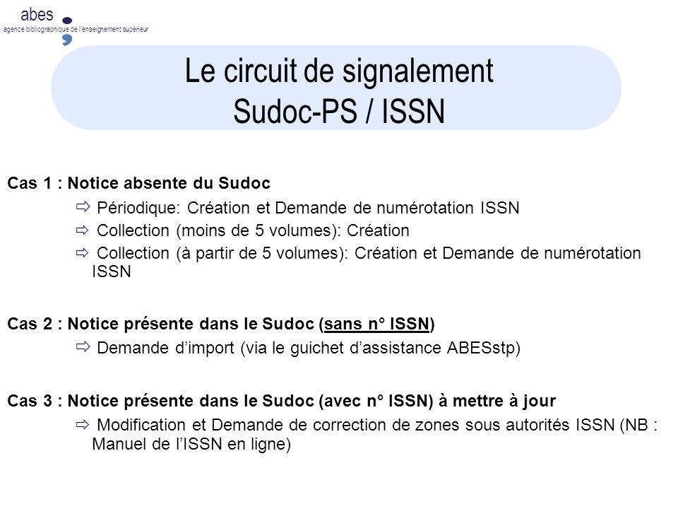 Le circuit de signalement Sudoc-PS / ISSN