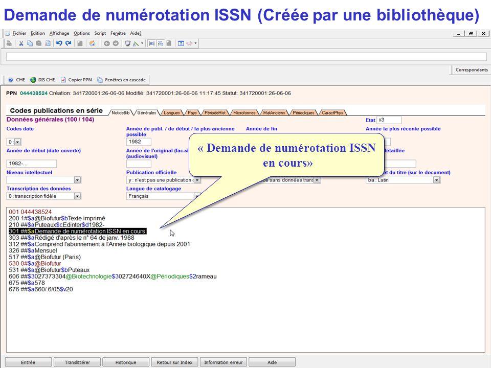 « Demande de numérotation ISSN en cours»
