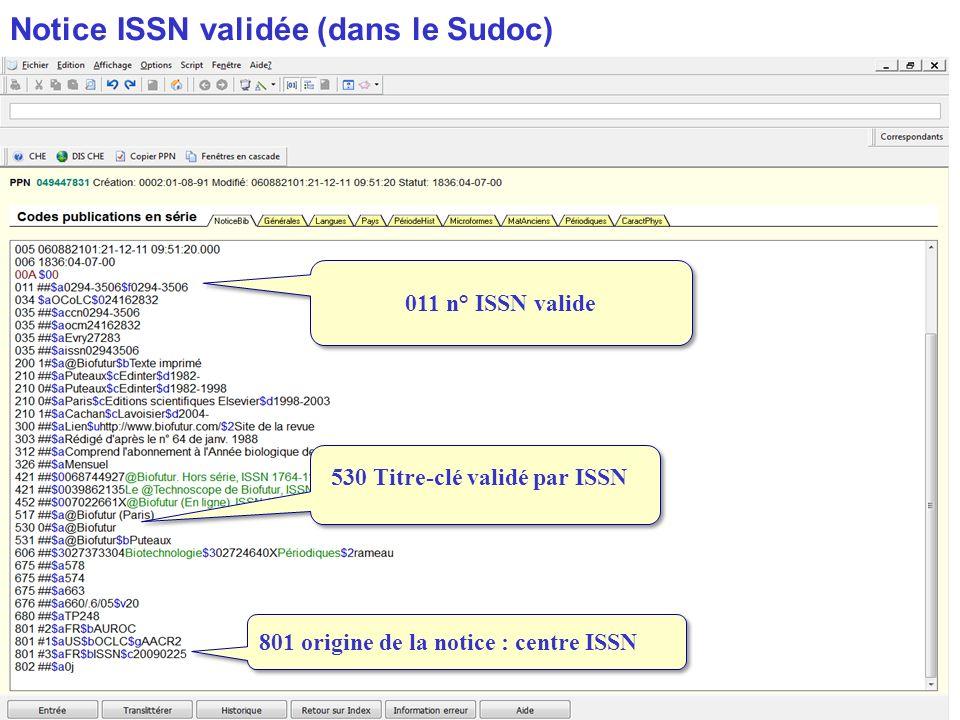 Notice ISSN validée (dans le Sudoc)