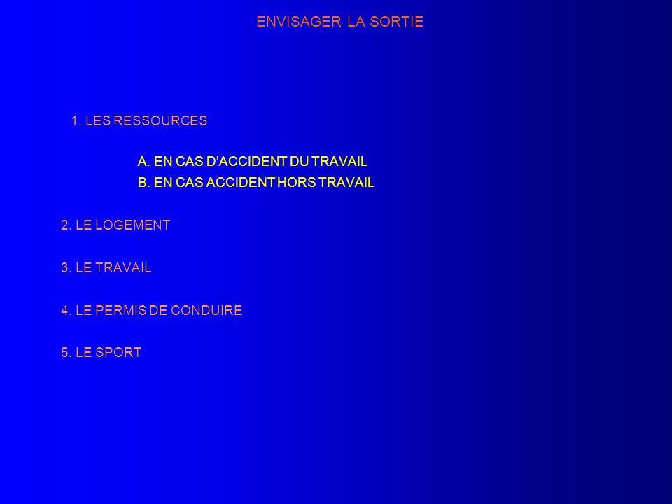 ENVISAGER LA SORTIE 1. LES RESSOURCES A. EN CAS D'ACCIDENT DU TRAVAIL