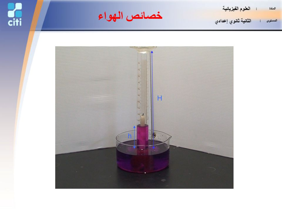 خصائص الهواء H h العلوم الفيزيائية الثانية ثانوي إعدادي المادة :
