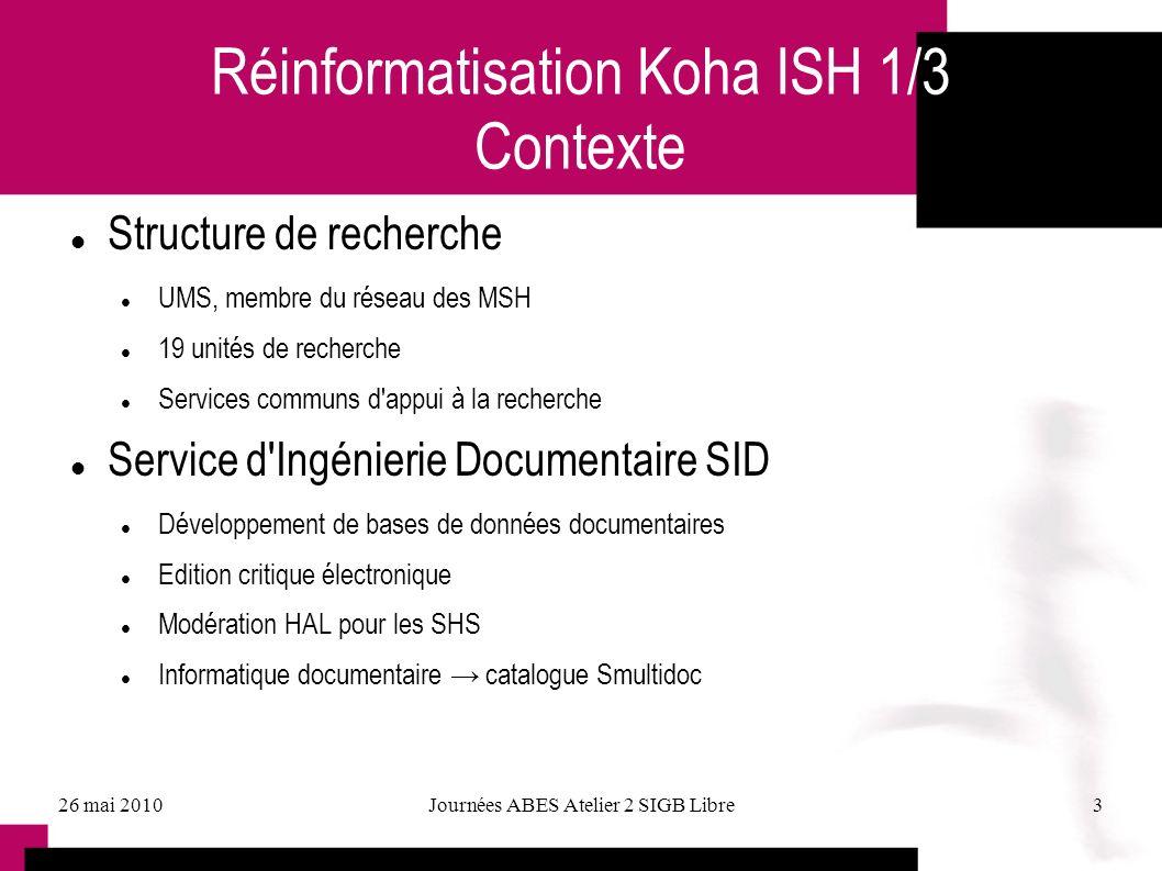 Réinformatisation Koha ISH 1/3 Contexte