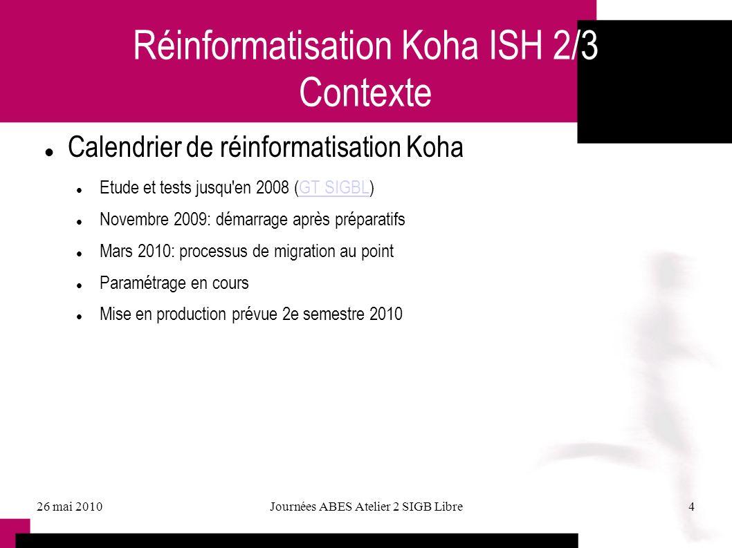 Réinformatisation Koha ISH 2/3 Contexte