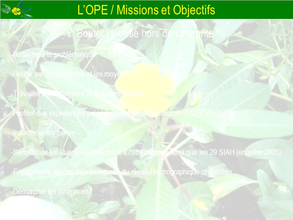 L'OPE / Missions et Objectifs