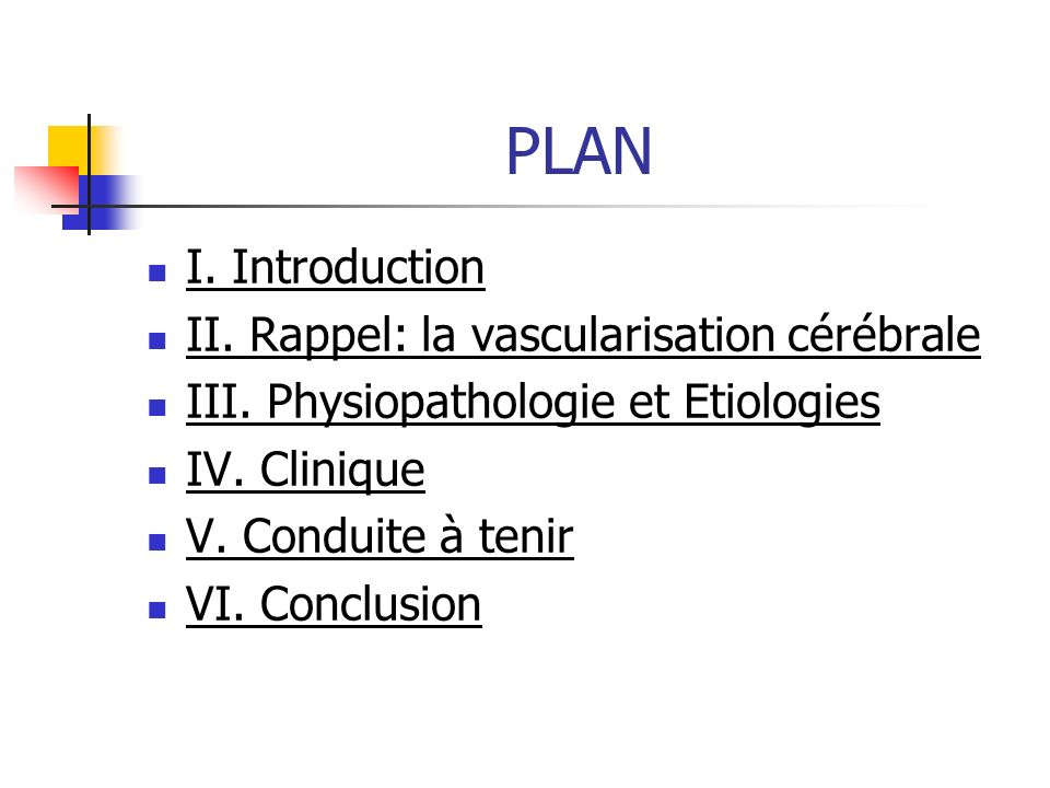 PLAN I. Introduction II. Rappel: la vascularisation cérébrale