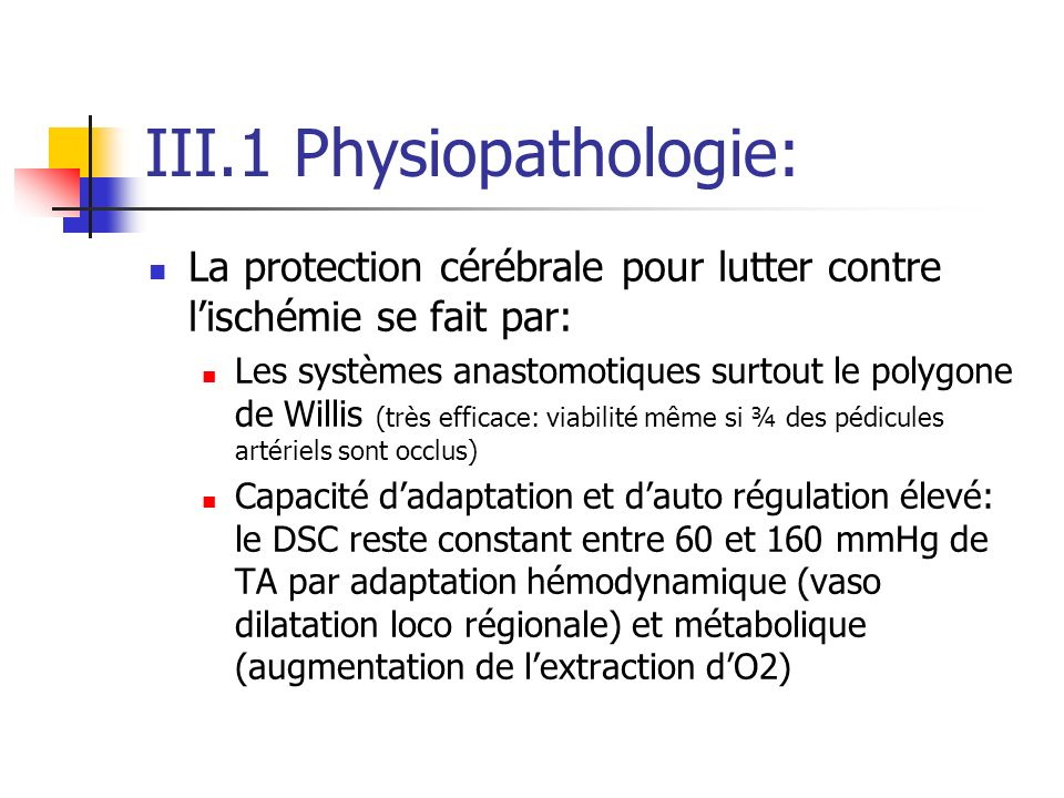 III.1 Physiopathologie: