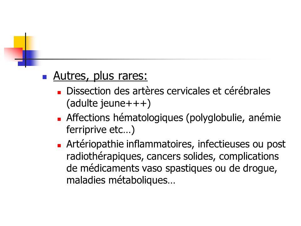 Autres, plus rares: Dissection des artères cervicales et cérébrales (adulte jeune+++)