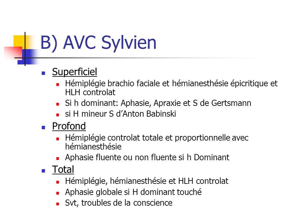 B) AVC Sylvien Superficiel Profond Total