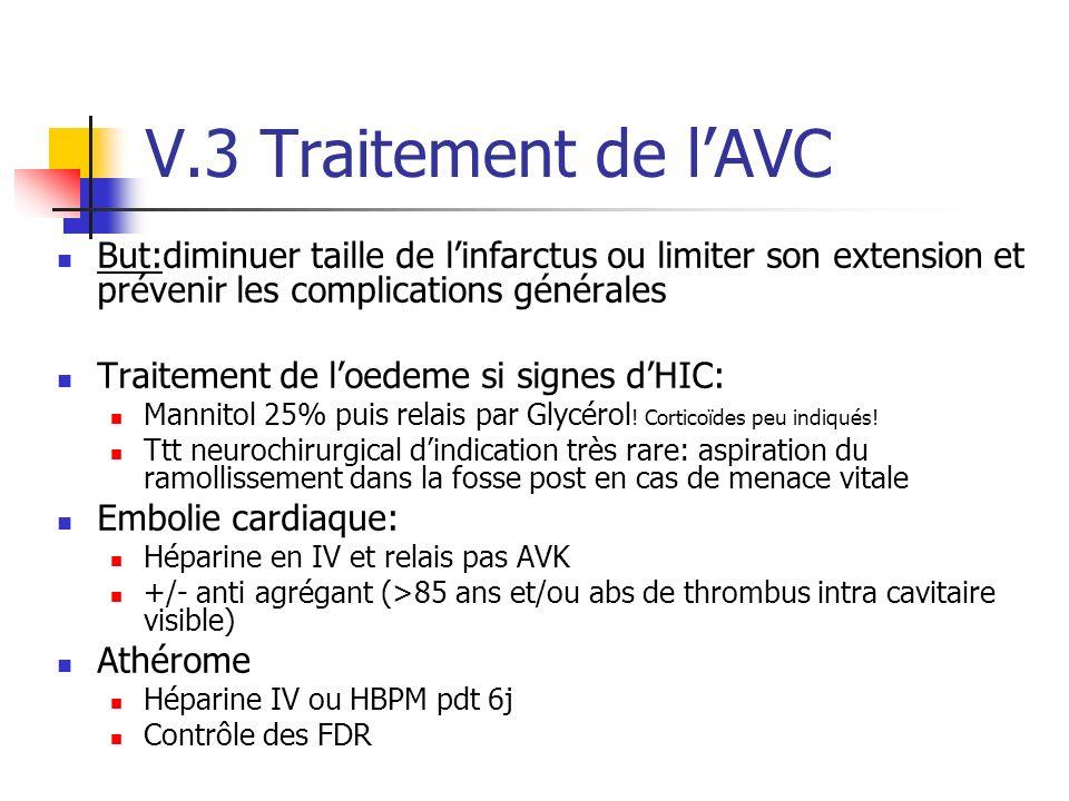 V.3 Traitement de l'AVC But:diminuer taille de l'infarctus ou limiter son extension et prévenir les complications générales.
