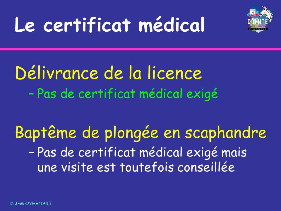 Le certificat médical Délivrance de la licence