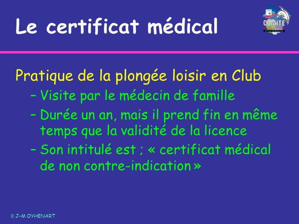 Le certificat médical Pratique de la plongée loisir en Club