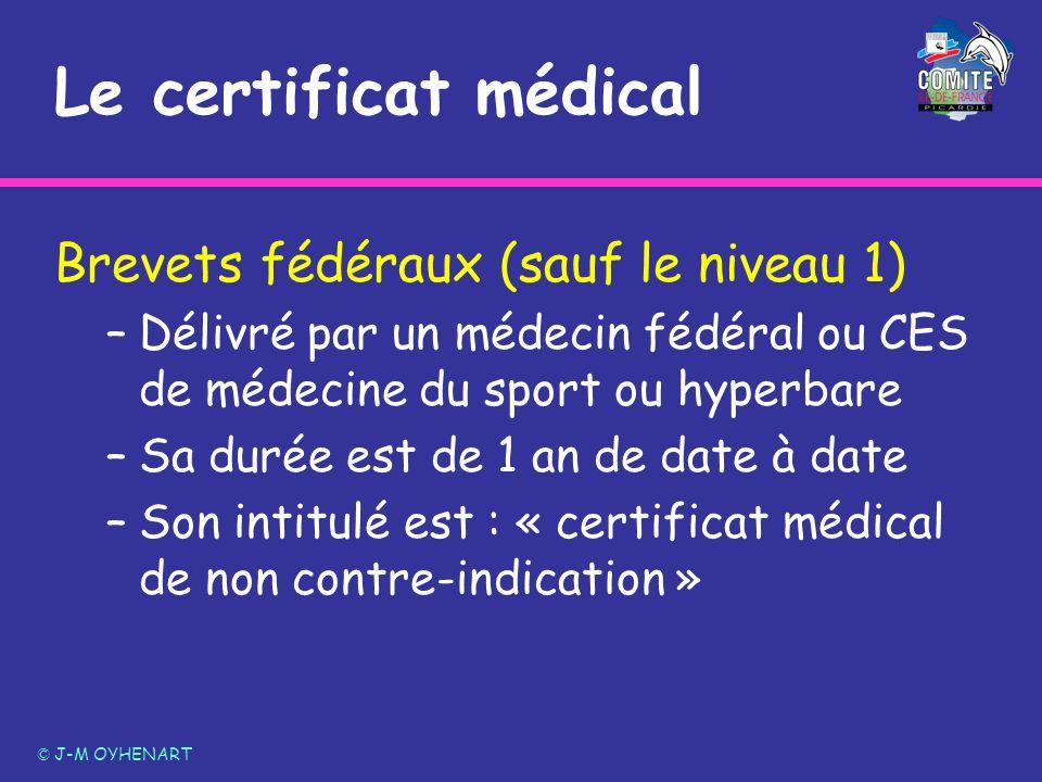 Le certificat médical Brevets fédéraux (sauf le niveau 1)