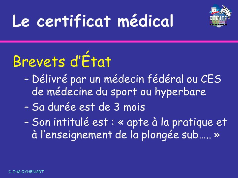 Le certificat médical Brevets d'État