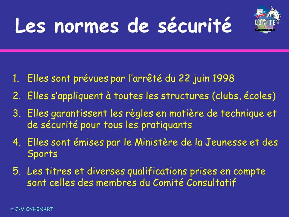 Les normes de sécurité Elles sont prévues par l'arrêté du 22 juin 1998