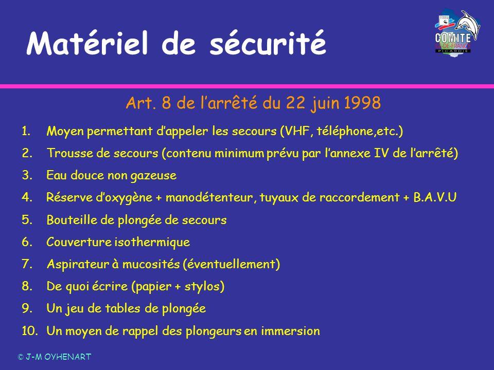 Matériel de sécurité Art. 8 de l'arrêté du 22 juin 1998
