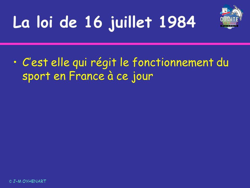 La loi de 16 juillet 1984 C'est elle qui régit le fonctionnement du sport en France à ce jour.