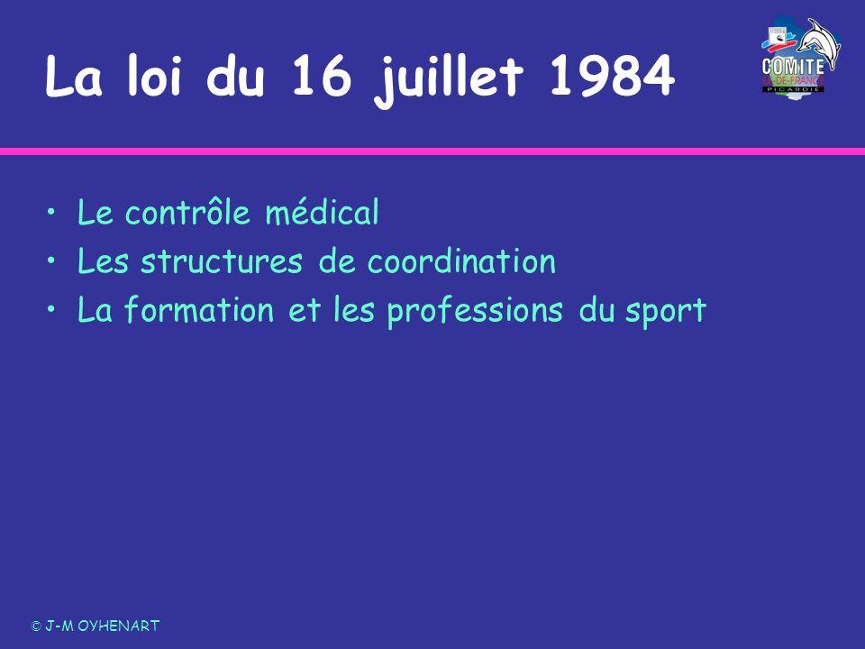 La loi du 16 juillet 1984 Le contrôle médical