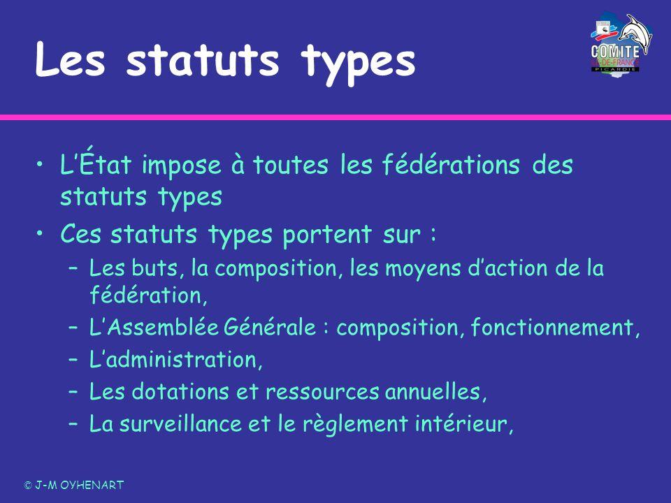 Les statuts typesL'État impose à toutes les fédérations des statuts types. Ces statuts types portent sur :