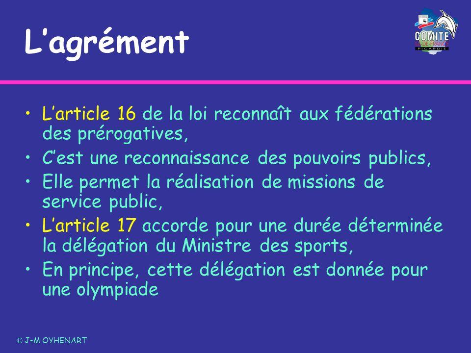 L'agrément L'article 16 de la loi reconnaît aux fédérations des prérogatives, C'est une reconnaissance des pouvoirs publics,