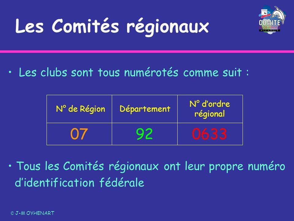 Les Comités régionauxLes clubs sont tous numérotés comme suit : 0633. 92. 07. N° d'ordre régional. Département.