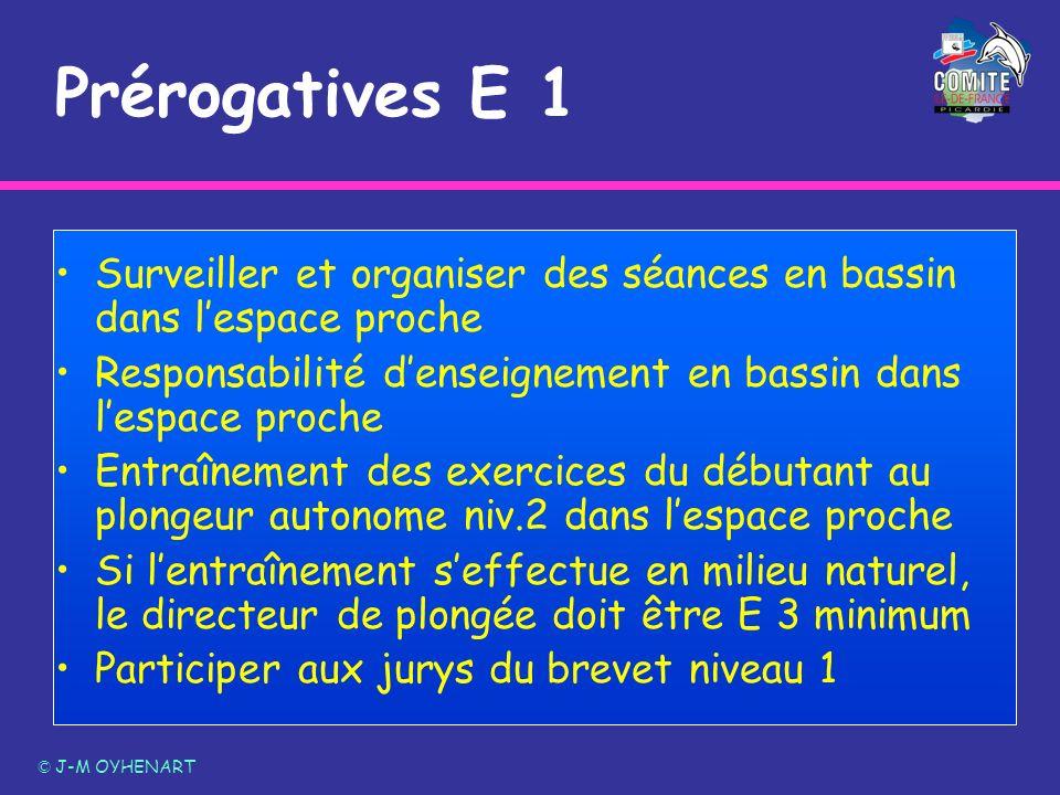 Prérogatives E 1 Surveiller et organiser des séances en bassin dans l'espace proche. Responsabilité d'enseignement en bassin dans l'espace proche.