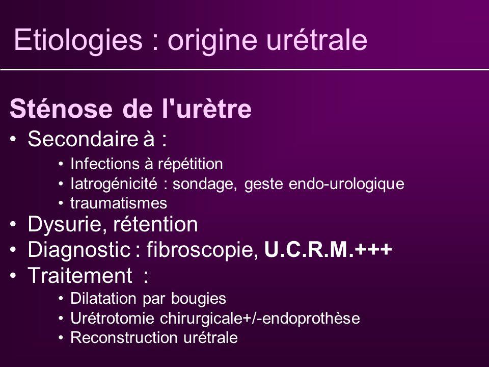 Etiologies : origine urétrale
